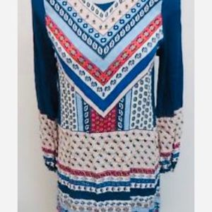 Express Long Sleeved Multicolor Paisley Dress